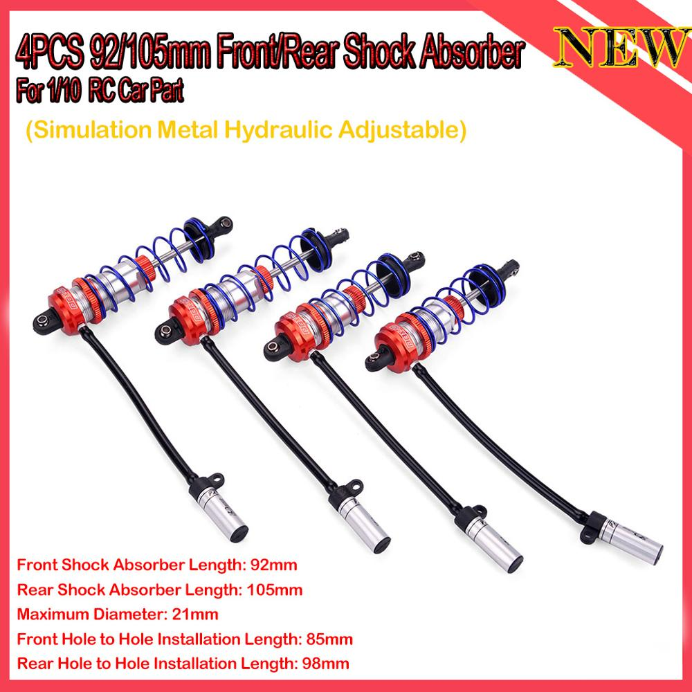 4PCS ZD Racing 92/105mm Front/Rear Metal Shock Absorber Damper Suspension Parts for 1/10 JLB HSP HPI Redcat Hobao RC Car