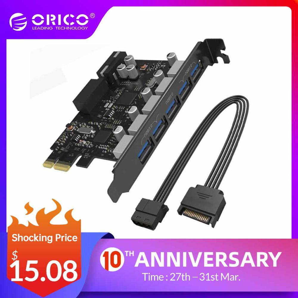 ORICO PCI-E Expansion Post Card 5 Ports USB 3.0 PCI Express Card 5Gbps Compatible For Windows XP Linux With 4 Pin Power Cord