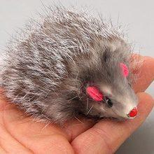 1pc falso rato gato brinquedo de estimação gato longo cabelo cauda ratos macio real pele de coelho brinquedos para gatos cães brinquedos