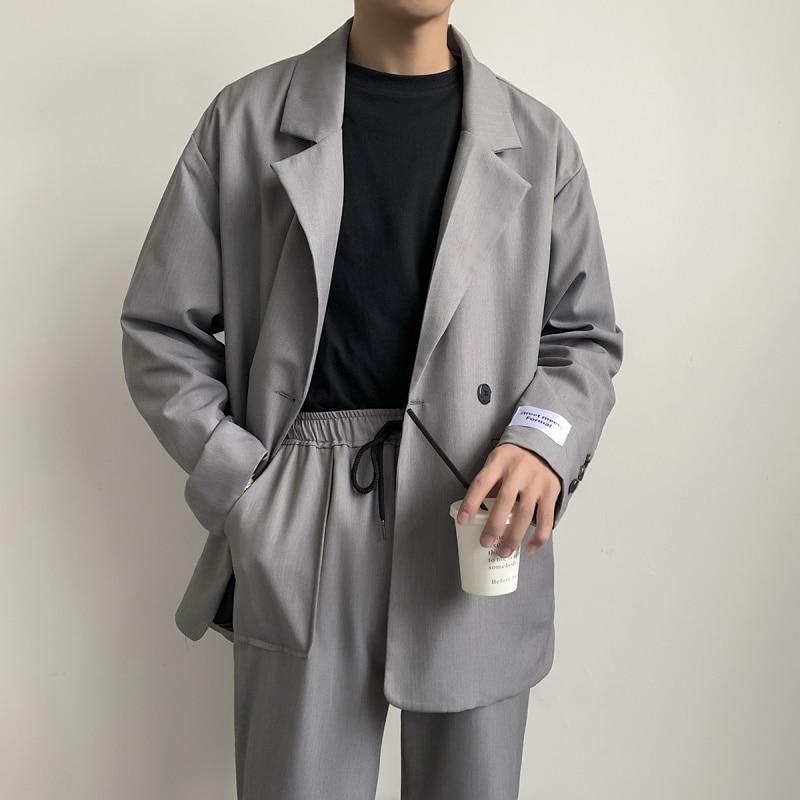 EWQ / Men's Wear Chic Casual Suit Jacket 2020 Spring Trendy Korean Fashion Patch Cuff Casazl Oversize Streetwear Blazer 9Y1356