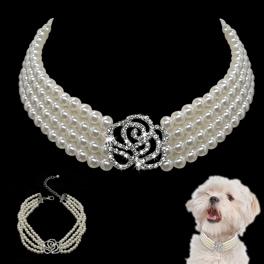 Elegant Crystal Dog Collar Necklace Choker Style Rhinestone Pearl Luxury Pet Dog Accessories Necklaces For Dog Chihuahua D40