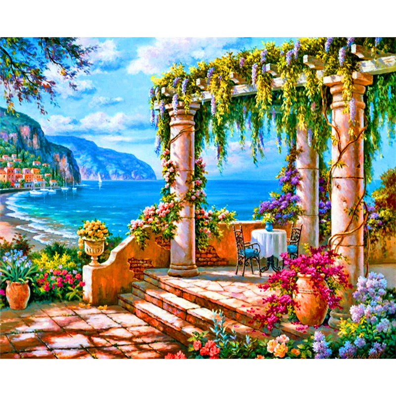 YANXIN Frame Painting By Numbers Landscape Decorations Frameworks Acrylic Painting Home Decor Pictures RSB8481