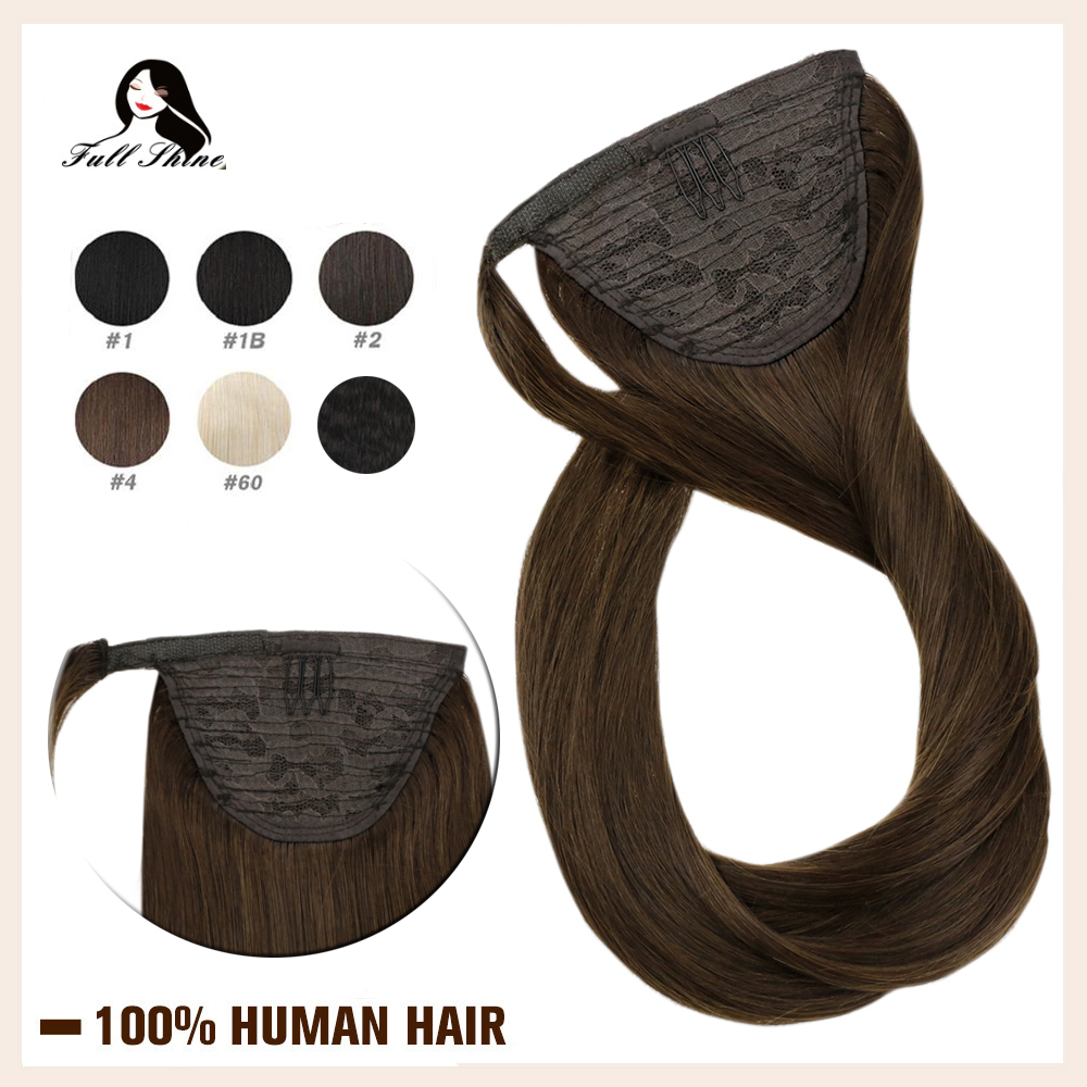 Full Shine Clip In Ponytail Hair Extensions For Women Solid Color 100% Machine Made Remy Extension Ponytail