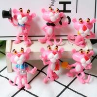 10set 6pcs pink naughty leopard resin accessories for children toy doll diy craft supplies key chain decoration widget