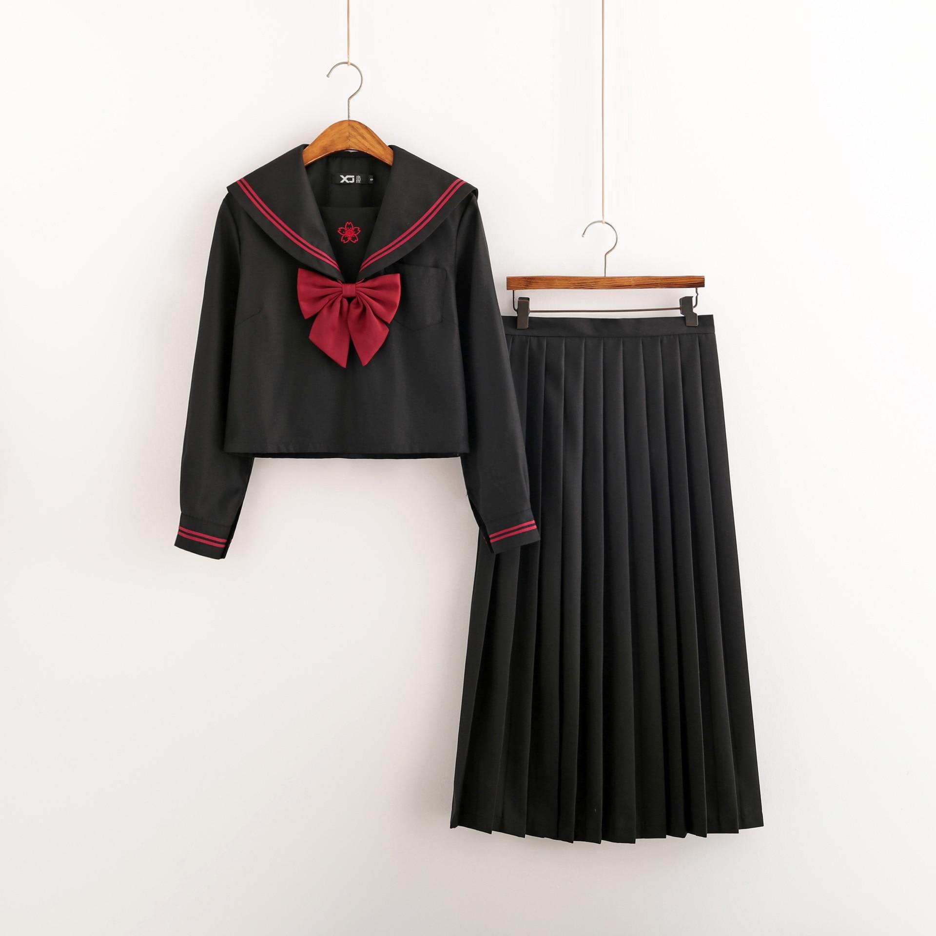 2019 Summer Japanese School Uniforms For Girls Black Tops Long Skirt Sailor Pleated Skirt Full Sets Cosplay Jk Costume Series XL