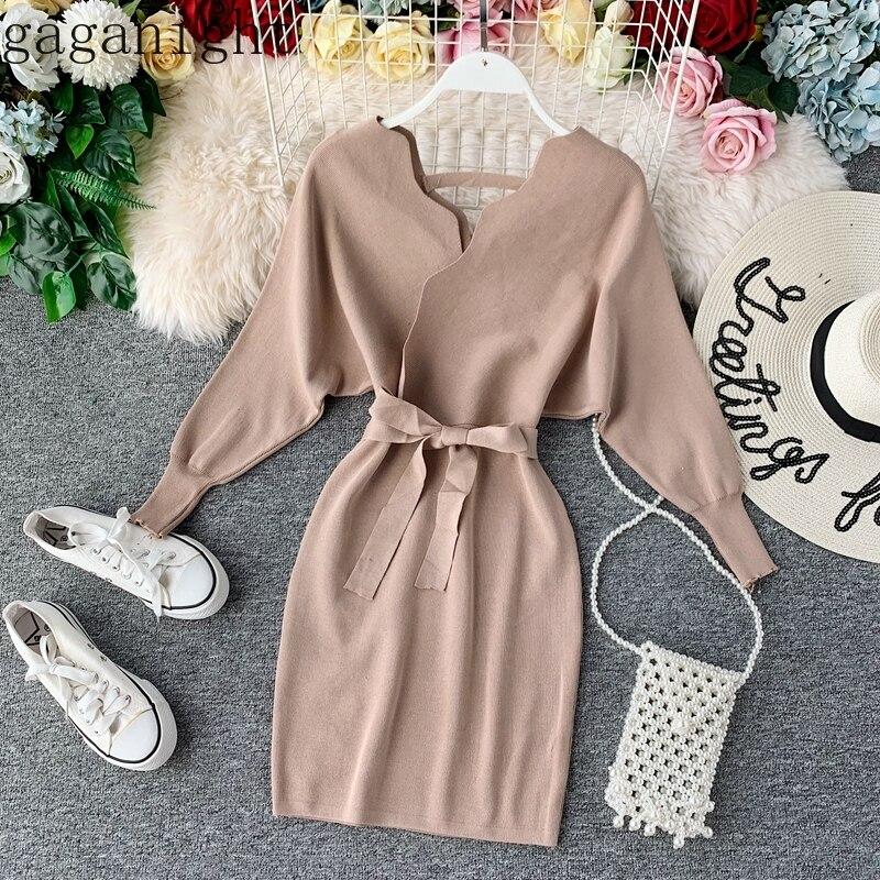 Gaganight элегантные женские облегающие вечерние платья с длинным рукавом и v-образным вырезом, однотонные миди платья, женские шикарные корейс...