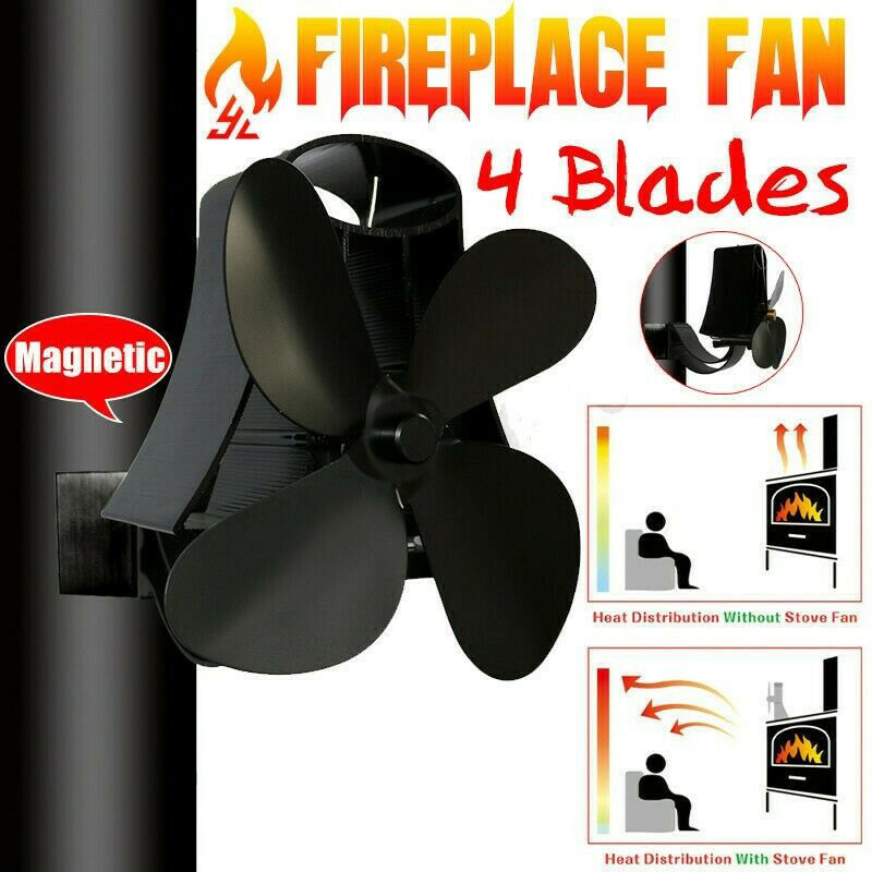 Wall Mounted Stove Fireplace Fan Magnetic Flue Pipe Home Log Wood Burner Powered Heat Distribution Fireplace Parts