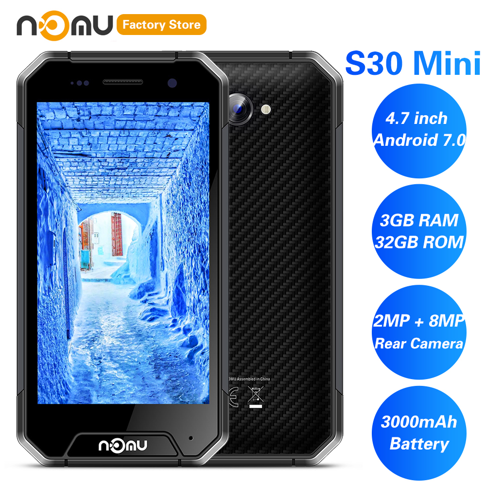 IP68 NOMU S30 Mini 4G Smartphone 4.7' Android 7.0 MTK6737VWT Quad Core 1.5GHz 3GB 32GB 8.0MP Waterproof  3000mAh Cellphones