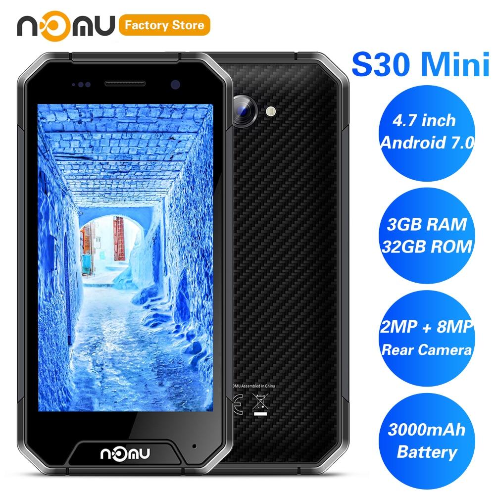 IP68 NOMU S30 Mini 4G Smartphone 4.7 'Android 7.0 MTK6737VWT Quad Core 1.5GHz 3GB 32GB 8.0MP étanche 3000mAh téléphones portables