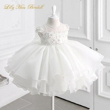 Girls White Dress for First Holy Communion 3D Flowers Appliques Beaded Short Flower Girl Dress
