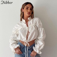 Nibber fashion Sxey lace up Hollow puff sleeve tshirt for women fall Clothing Elegant
