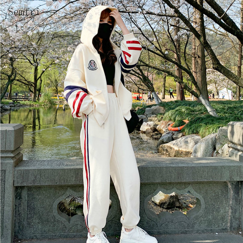 Semfri Two Piece Set Tracksuit Women 2020 Spring Autumn Hooded Sports Suit Female Loose Style Striped Clothes 2 Piece Set
