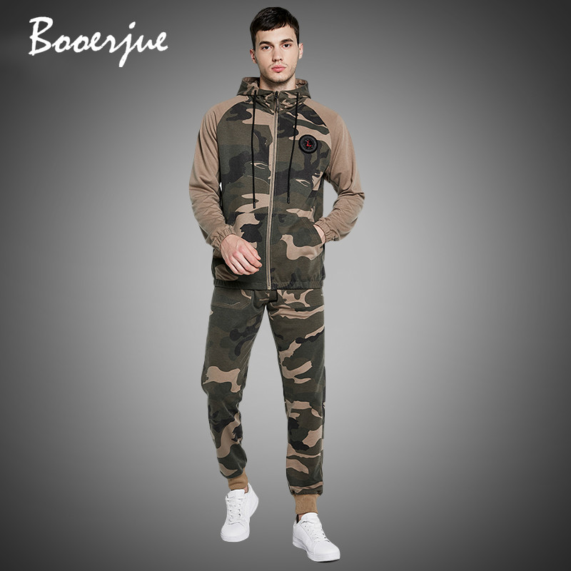New Men Tracksuit Autumn Winter Warm Hooded Sweatshirts+Camoflage Pants Zipper Jogging Suit Sets Active Clothes Sportswear 2020