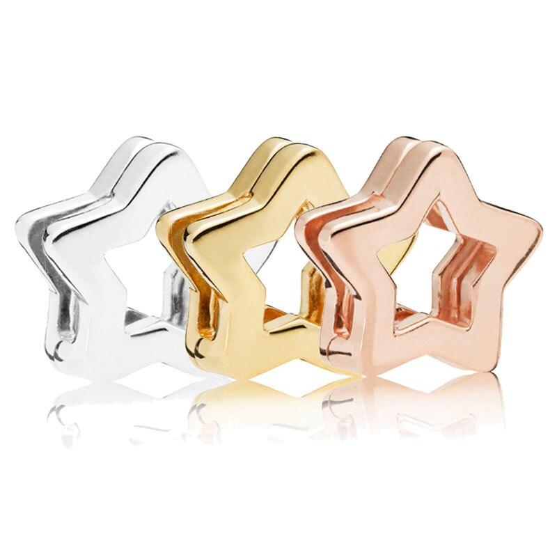 FEOLEO натуральная 925 пробы Серебряная скобка, очаровательные, подходят к оригиналу Pandora браслетов reflexions для Для женщин розового золота Цвет ювелирные изделия