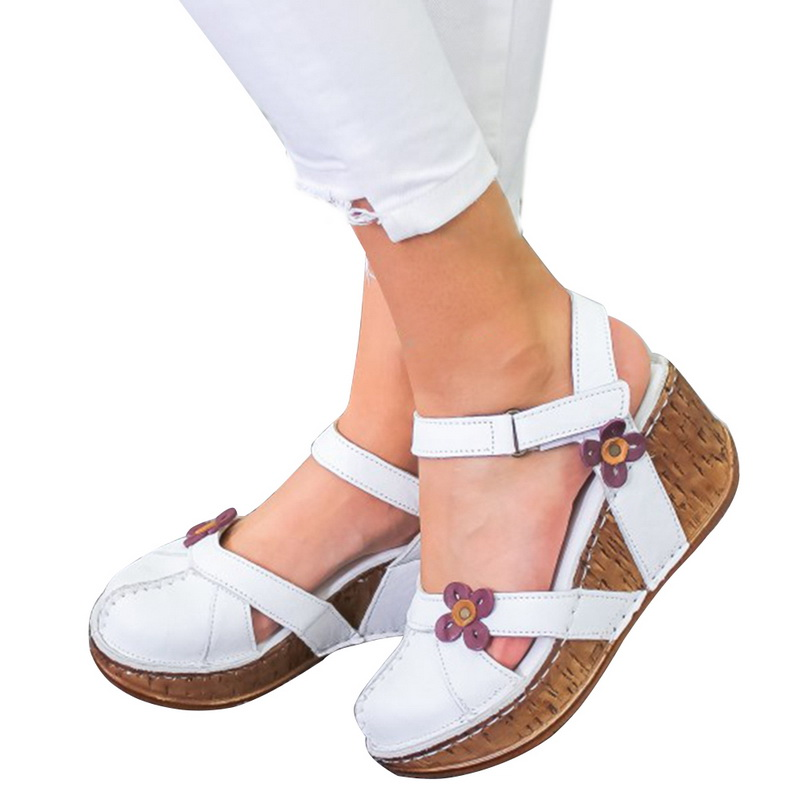 2020 New Woman Summer Leather Vintage Sandals Buckle Casual Sewing Women Shoes Solid Female Ladies Platform Shoes Plus Size 43