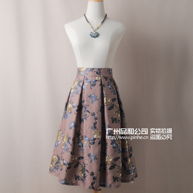 8802 # Autumn And Winter AliExpress Purchasing Agents Europe And America Printed Midi-skirt Skirt Retro A- Line Pleated Skirt