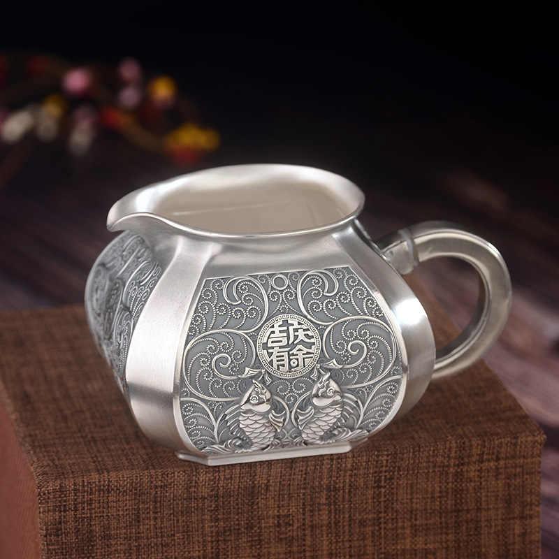 בסדר כסף 999 סטרלינג כסף תה סטי Si ג 'י Qing בילה יותר הוגן קונג פו תה כוס קומקום תה