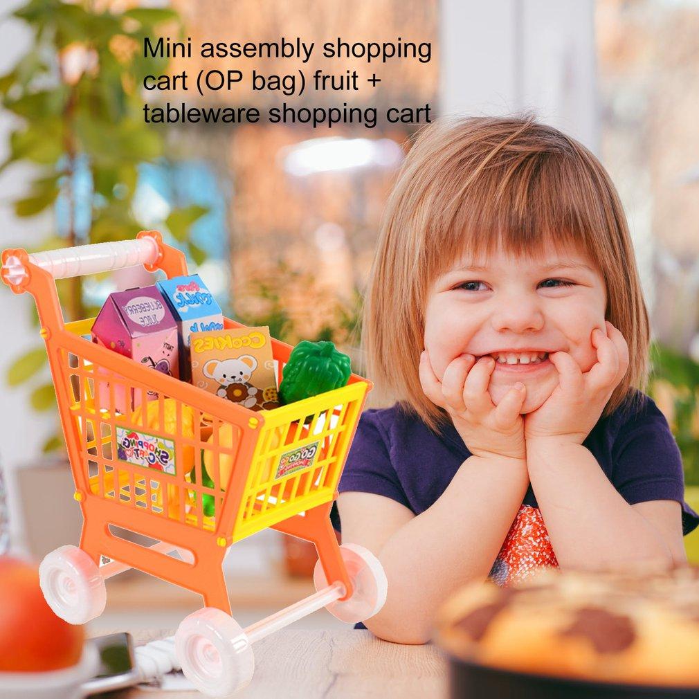 ZFRANC Mini Simulation Shopping Cart Kids Pretend Play Set Plastic Assemble Disassemble Shopping Cart for Baby