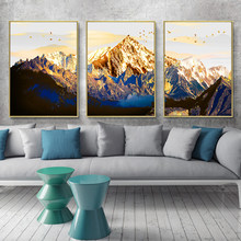Golden Abstract Snow Mountain Landscape Map Canvas Painting Art Print Poster Picture Wall Nordic Decorative Picture Home Decor