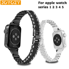 цена на Joyozy women Diamond Band For Apple Watch band 40mm 44mm 38mm 42mm stainless steel strap for Apple Watch series 5 4 3 2 1 iWatch