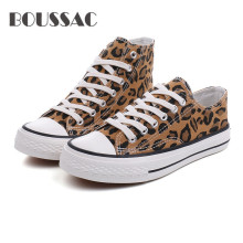 BOUSSAC  2019 Women Canvas Shoes Fashion Leopard Print Women Vulcanized Shoes Lace-up Casual High Upper Shoes Woman Sneakers moxxy leopard shoes woman print flats casual shoes woman lace up golden canvas shoes autumn trainers high top sneakers women