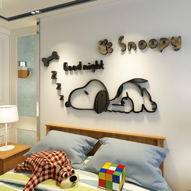 Snoopy akrylowe 3D solid crystal sypialnia ściana z salonem klasie naklejki pomysły na dekoracja sklepu kawy