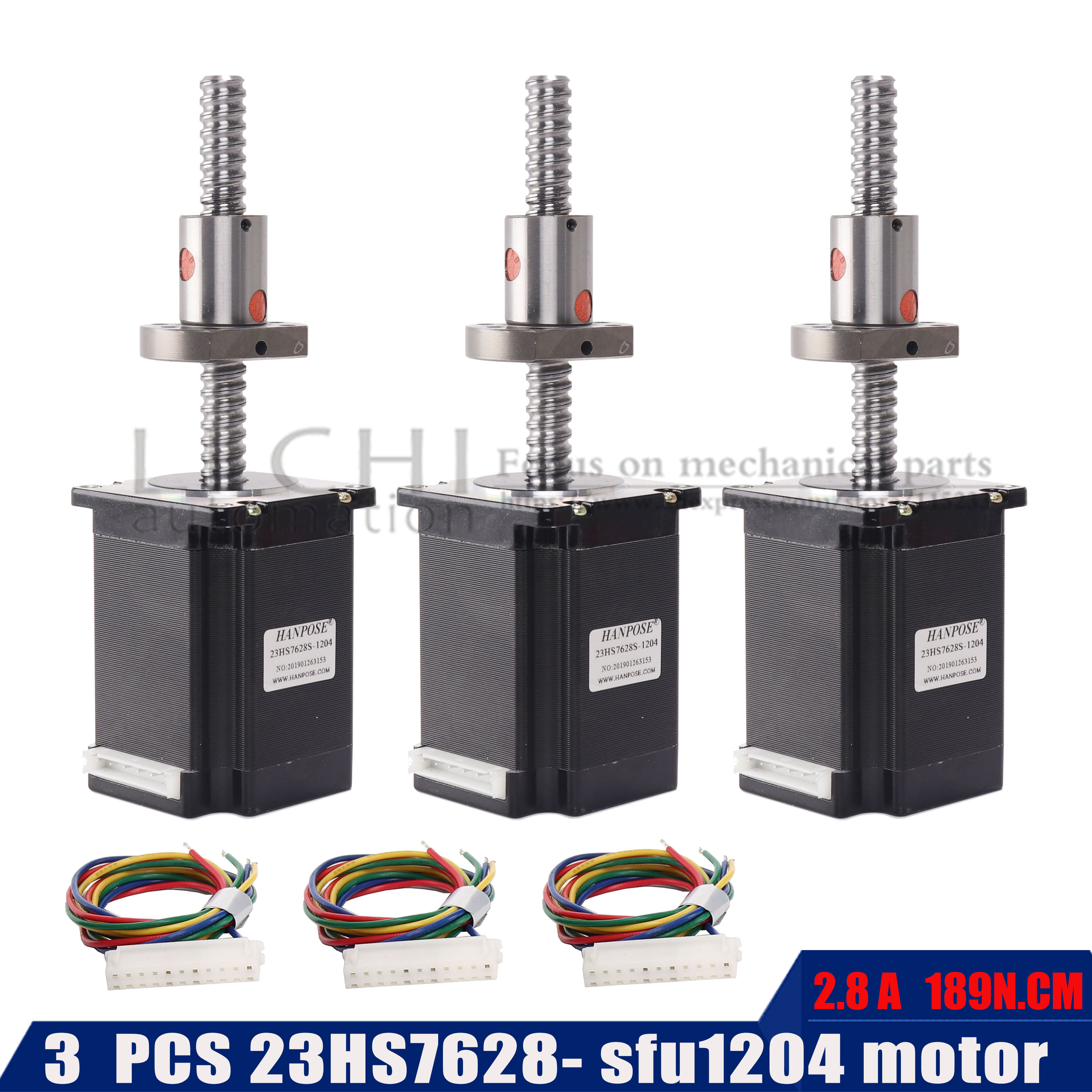 3PCS NEMA23 2.8A 189N.Cm stepper motor with 23HS7628 200mm 300mm ballscrew  motor 57 motor for CNC engraving machine