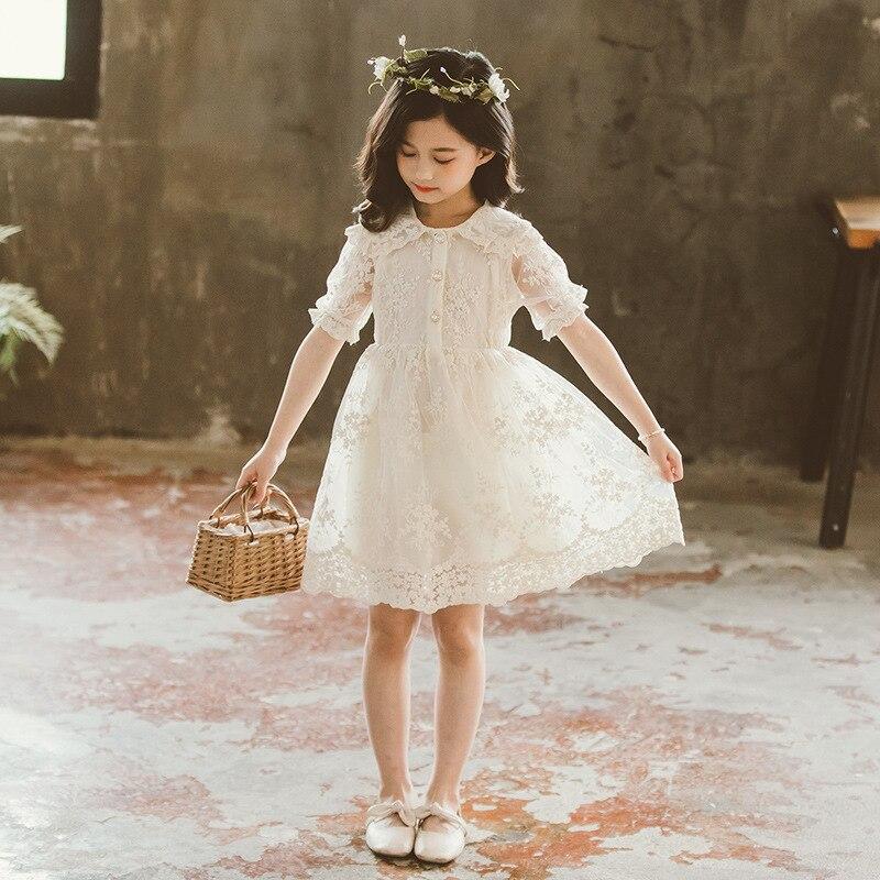 Купить летнее платье для девочки новинка 2020 белое сетчатое кружевное