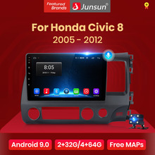 نظام ملاحي متعدد الوسائط وراديو السيارة من Junsun V1 يعمل بنظام الأندرويد 10.0 والذكاء الاصطناعي والتحكم الصوتي 4G Carplay DSP لسيارات Honda Civic 8 FK FN FD 2005-2012...