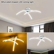 โคมไฟเพดานLEDโมเดิร์น 21W 3000K Night Light Forkedรูปสำหรับห้องนั่งเล่นDecorโคมไฟโมเดิร์นการออกแบบโค้ง