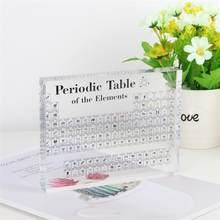 Novo acrílico tabela periódica exibir com elementos reais crianças ensinando dia da escola presentes de aniversário elemento químico exibição