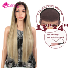 цена на Classic Plus Long Straight Synthetic Lace Front Wig Natural hair Black Ash Blonde Lace Front Wig For Women 32 Inch Cosplay  Wig