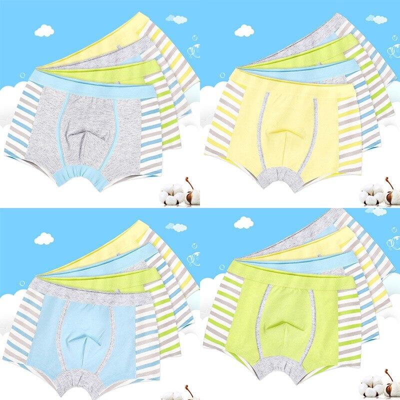 2pc/lot Boys Fashion Cute Striped Boxers Short Children Soft Underpant Underwear Cotton Underpant