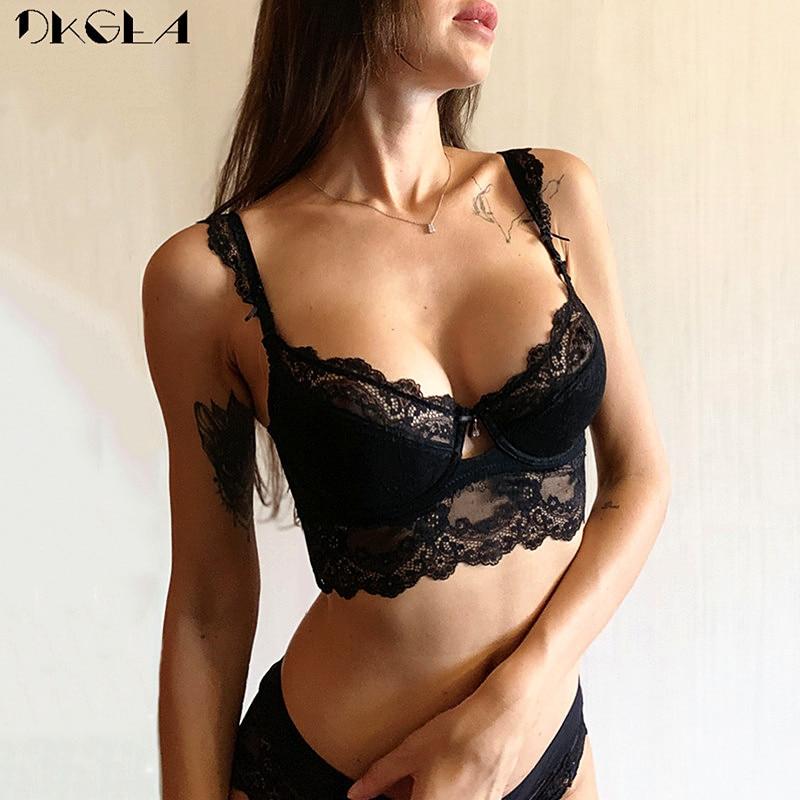 New Lace Lingerie Sets Plus Size 36 38 40 Ultrathin Sexy Underwear Set Women Cotton Comfortable Brassiere Black Push Up Bras