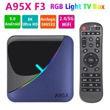 A95X F3 RGB Luz Caixa de TV Android 9.0 Amlogic S905X3 4GB GB GB 8 32 64 K 60fps 2.4G/5G Wi-fi Netflix Media Player A95XF3 X3 2GB16GB