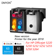 DMYON 2018 New Version Printer 63XL Ink Cartridge Compatible for Hp 63 Officejet 5220 5230 5232 5252 5255 5258 5264
