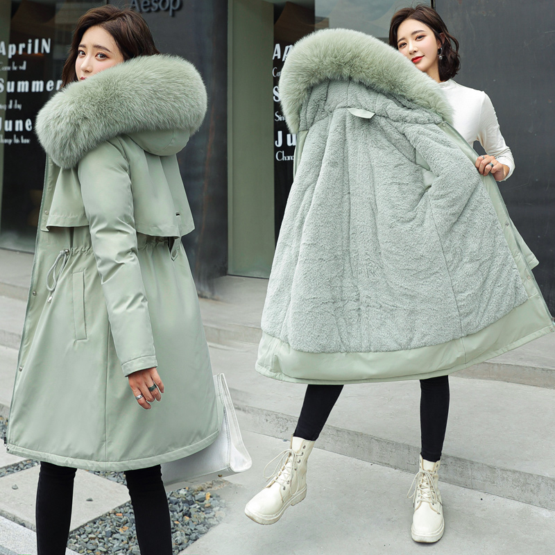 2020 New Cotton Liner Parker Parka Fashion Adjustable Waist Fur Collar Winter Jacket Women Medium Long Hooded Parka Coat Women Women's Clothings Women's Sweaters/Coat cb5feb1b7314637725a2e7: black|Blue|Khaki|light green|Red