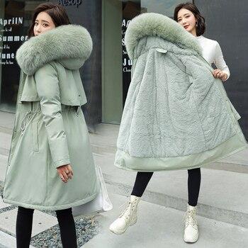 2020 New Cotton Liner Parker Parka Fashion Adjustable Waist Fur Collar Winter Jacket Women Medium Long Hooded Parka Coat
