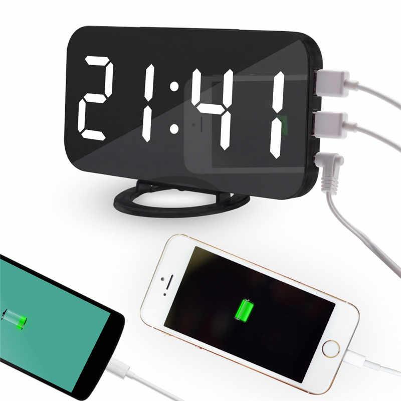 חדש דיגיטלי LED שעון מעורר מראה שעון נודניק תצוגת זמן לילה Led שולחן שולחן 2 יציאות USB תשלום עבור Androd טלפון