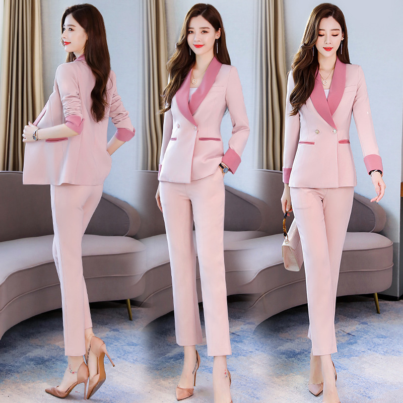 Business women's suits pants suit high quality 2019 new autumn slim long-sleeved pink blazer female Office long sleeve two-piece 32