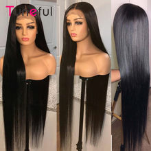 Perruque Lace Closure wig brésilienne naturelle Remy, cheveux lisses, 4x4 5x5, 28 30 pouces, 150% de Long, pour femmes