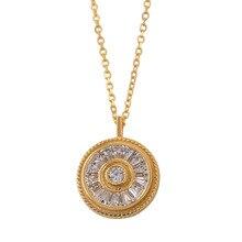 Sansummer 2019 New Hot Fashion Round S925 Silver Zircon Elegant Party Charm Dangle Punk Boho Necklace For Women Jewelry
