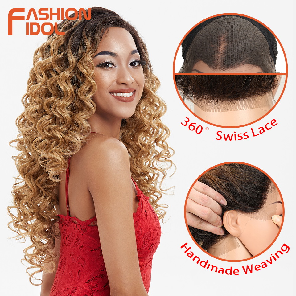 FASHION IDOL 26Inch Synthetic Wigs 360Lace Frontal Wig Ombre Blonde Deep Wavy Lace Wig High Cost Performance Heat Resistant Hair