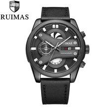 цена на Men's Fashion Sport Chronograph Watch Men Leather  Band Waterproof Quartz Watches Military Luxury Male Date Relogio Masculino