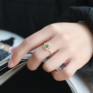 LAMOON Ring For Women Emerald