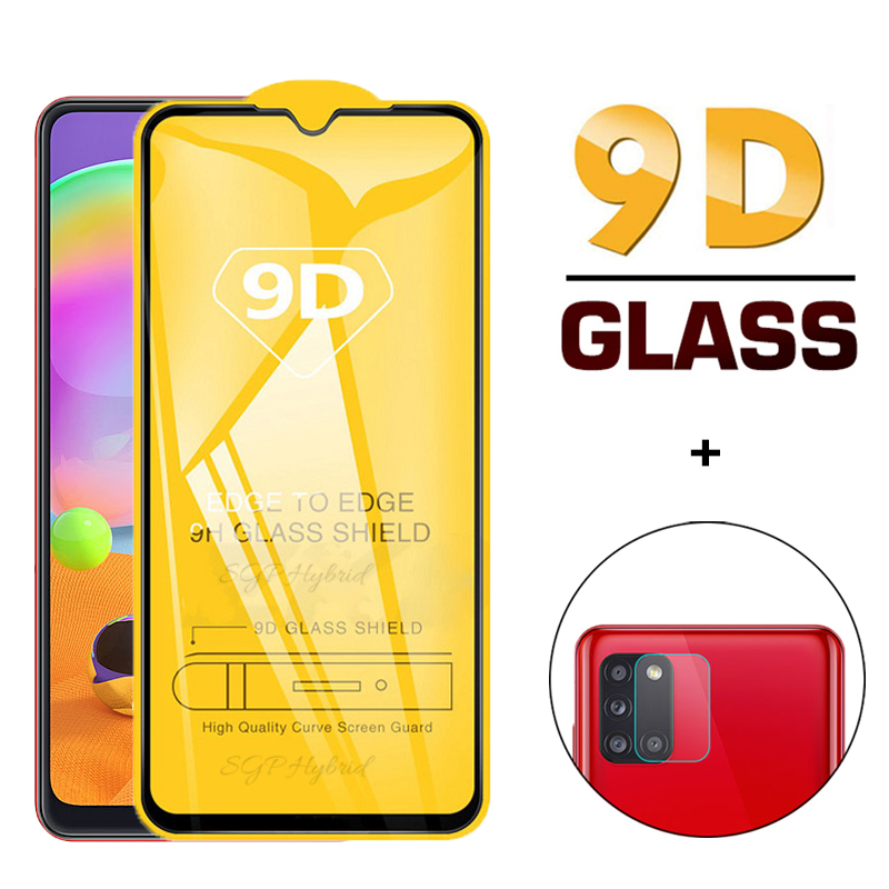 2-in-1 Full Gule Cover Tempered Protective Glass For Samsung A31 A 31 Screen Protector For Samsung A31 A 31 Camera Lens Glass