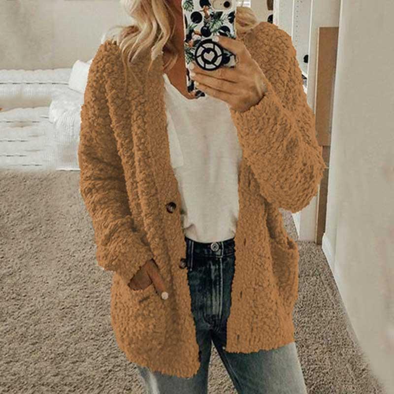 2019 Autumn Teddy Bear Coat Women Winter Faux Fur Coat Ladies Button Plush Warm Coat Winter Jacket Overcoat Outwear Female Coat