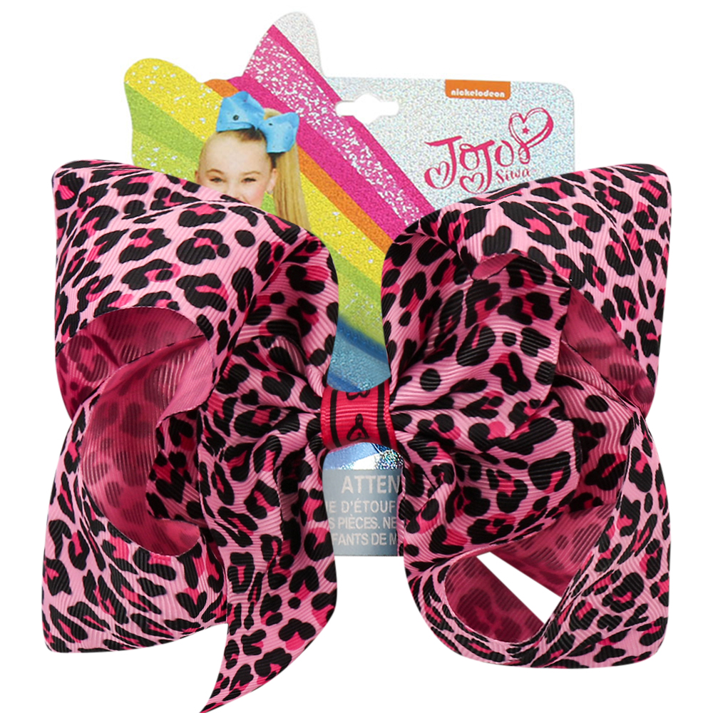New Jojo Siwa/Jojo Bows 7'' Fashion Pink Leopard Printed Hairbows Hairgrips For Girls Hair Accessories Party Kids Hair Clips