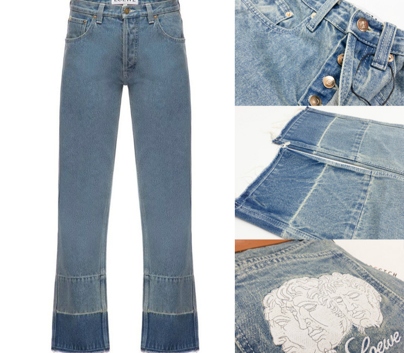 Patchwork Color Matching Head Embroidery Logo Pattern Embroidery Jeans Straight Bobbin Pants Women