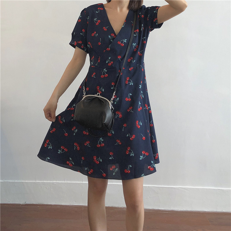 Tang Tang Cherry Printed Vintage V-neck Dress Women's Mid-length Summer New Style High-waisted Slimming Chiffon Short Sleeve A-
